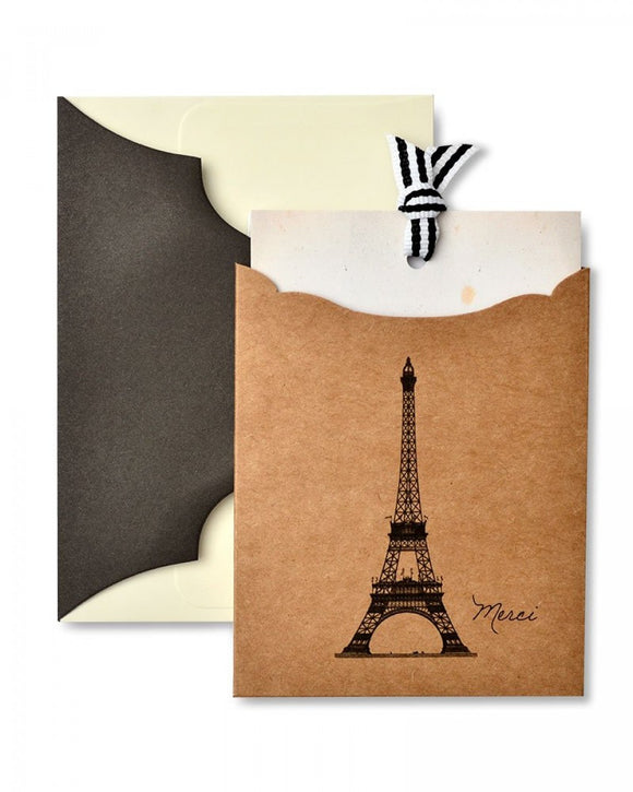 Eiffel Tower 'Merci' Pocket Thank You Cards- 10 ct.