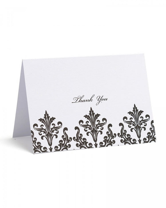 Value Pack Thank You Cards - 50 count Black & White Damask Floral