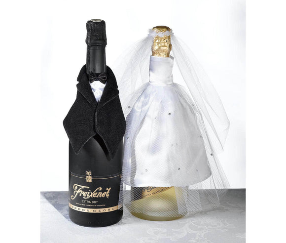 Bride & Groom Tuxedo Bottle Covers