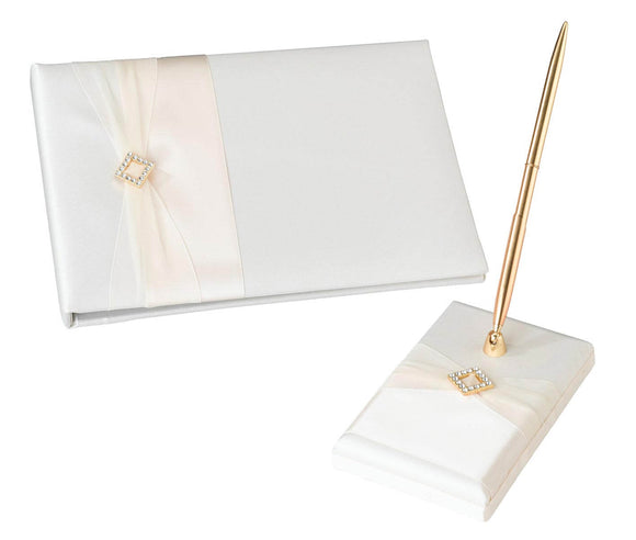 Ivory Satin Guest Book & Pen Set