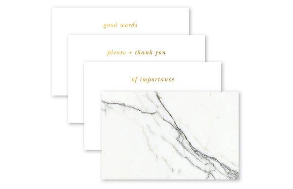 Quips & Queries Notecards (marble with gold foil) - 50 pack