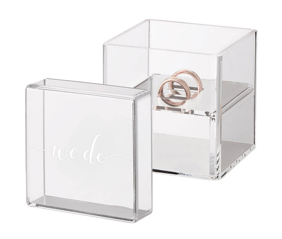 Clear Acrylic Ring Box Ring Pillow Alternative with