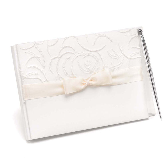 Ivory Satin and Swirls Guest Book