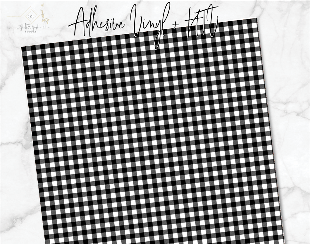 Plaid White Black Vinyl