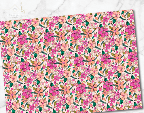 Preppy florals pink green 04