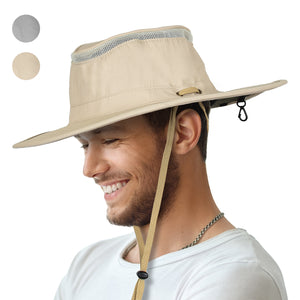 Outdoor Sun Protection Hat Wide Brim Mesh Hat for Boating Hiking Camping Fishing Hunting Safari