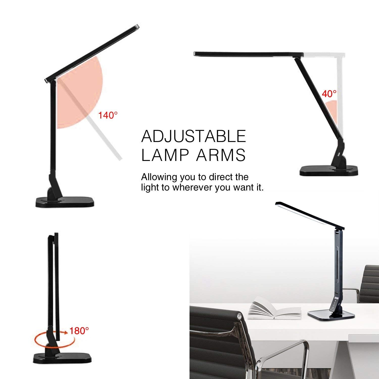 Dimmable LED Desk Lamp with USB Charging Port, Black