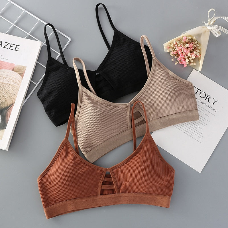 Thin Strap Sexy Lingerie Seamless Hollow Out Soft Bras For Women Wireless Push Up Bra Comfortable Underwear