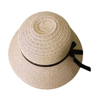 Floppy Foldable Ladies Women Straw Beach Sun Summer Hat Beige Wide Brim