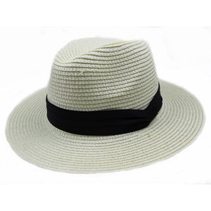 Summer fashion white flat brim wide brim women's strawhat women's jazz fedoras hat sun-shading hat beach cap summer