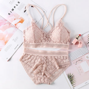 Women Lace Bra Sets Seamless Underwear Backless Vest Sexy Panties Padded Bralette Lingerie Ultrathin Briefs Female Intimates