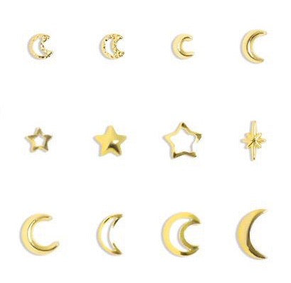 Star/Moon Studs (Gold)