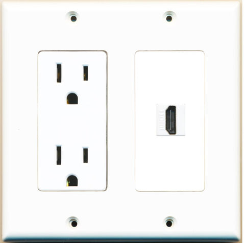 RiteAV - 15 Amp Power Outlet and 1 Port HDMI Decorative Type Wall Plate - White