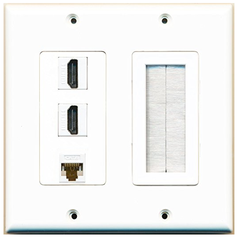 RiteAV White Decorative 2 Gang Wall Plate - 3 Port ( 2 x HDMI + 1 x Cat6 ) and 1 Brush Insert