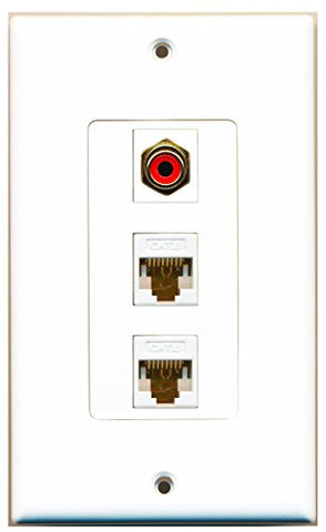 RiteAV - 1 Port RCA Red 2 Port Cat6 Ethernet White Decorative Wall Plate Decorative