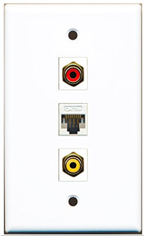 RiteAV - 1 Port RCA Red and 1 Port RCA Yellow and 1 Port Cat5e Ethernet White Wall Plate