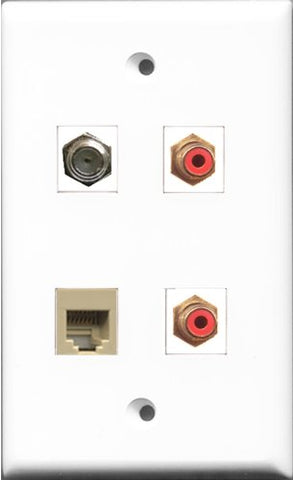 RiteAV - 2 Port RCA Red and 1 Port Coax Cable TV- F-Type and 1 Port Phone RJ11 RJ12 Beige Wall Plate