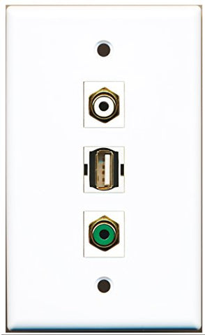 RiteAV - 1 Port RCA White and 1 Port RCA Green and 1 Port USB A-A Wall Plate