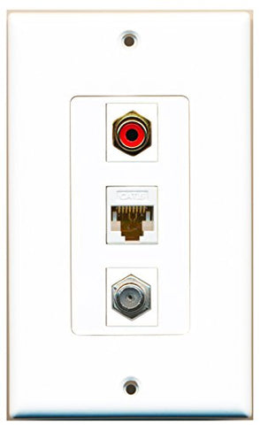 RiteAV - 1 Port RCA Red and 1 Port Coax Cable TV- F-Type and 1 Port Cat6 Ethernet White Decorative Wall Plate Decorative