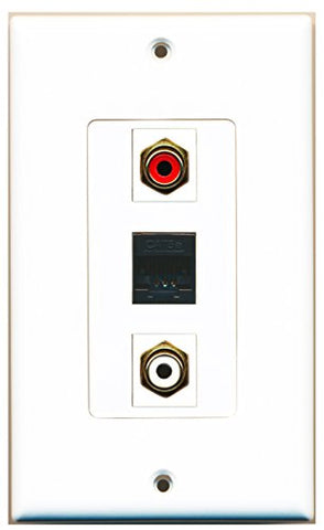 RiteAV - 1 Port RCA Red and 1 Port RCA White and 1 Port Cat5e Ethernet Black Wall Plate Decorative