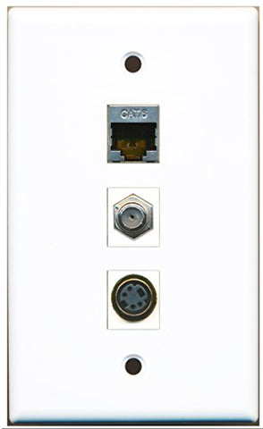 RiteAV - 1 Port Coax Cable TV- F-Type and 1 Port S-Video and 1 Port Shielded Cat6 Ethernet Wall Plate