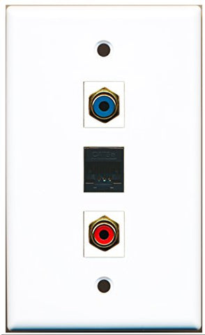 RiteAV - 1 Port RCA Red and 1 Port RCA Blue and 1 Port Cat5e Ethernet Black Wall Plate