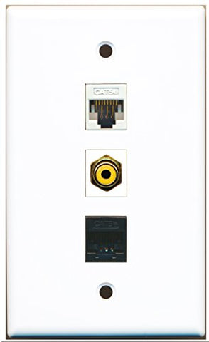 RiteAV - 1 Port RCA Yellow and 1 Port Cat5e Ethernet White and 1 Port Cat5e Ethernet Black Wall Plate