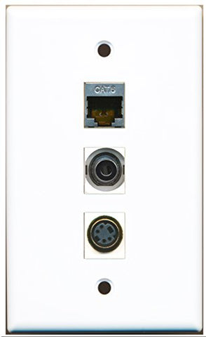 RiteAV - 1 Port S-Video and 1 Port Shielded Cat6 Ethernet and 1 Port 3.5mm Wall Plate