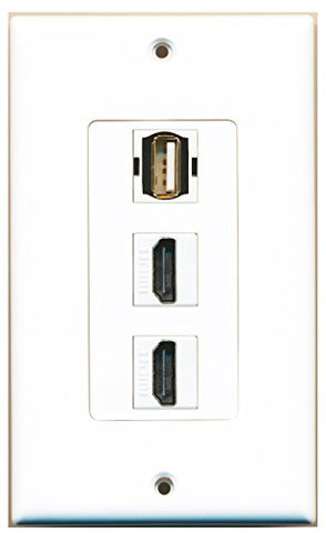 RiteAV - 2 Port HDMI 1 USB A-A Wall Plate Decorative