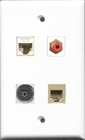 RiteAV 1 Port RCA Red and 1 Port Phone RJ11 RJ12 Beige and 1 Port Toslink and 1 Port Cat6 Ethernet White Wall Plate