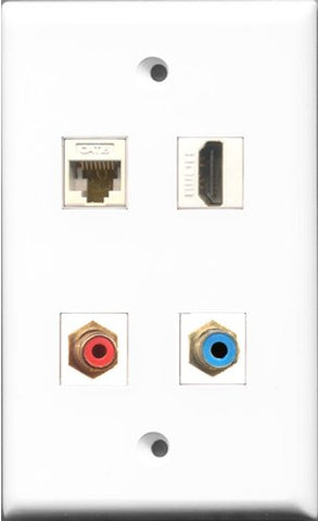 RiteAV 1 Port HDMI and 1 Port RCA Red and 1 Port RCA Blue and 1 Port Cat6 Ethernet White Wall Plate