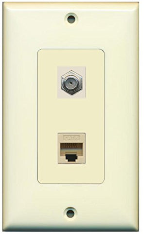 RiteAV - 1 Coax Cable TV F and 1 Cat6 Ethernet Wall Plate Decorative - Light Almond/Light Almond