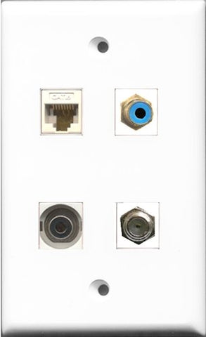 RiteAV 1 Port RCA Blue and 1 Port Coax Cable TV- F-Type and 1 Port 3.5mm and 1 Port Cat6 Ethernet White Wall Plate