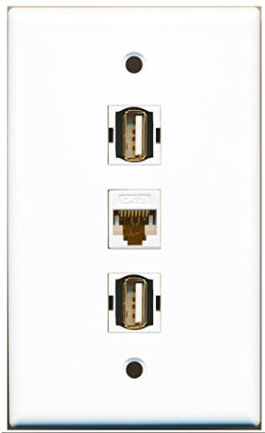 RiteAV - 2 Port USB A-A and 1 Port Cat6 Ethernet White Wall Plate