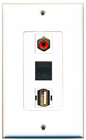 RiteAV - 1 Port RCA Red and 1 Port USB A-A and 1 Port Cat5e Ethernet Black Wall Plate Decorative