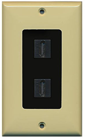 RiteAV HDMI 2.0 Keystone Decorative Wall Plate - Ivory/Black 2 Port