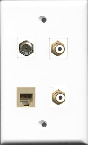 RiteAV - 2 Port RCA White and 1 Port Coax Cable TV- F-Type and 1 Port Phone RJ11 RJ12 Beige Wall Plate