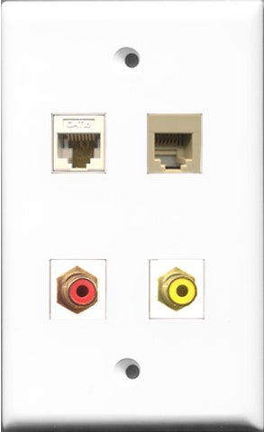 RiteAV 1 Port RCA Red and 1 Port RCA Yellow and 1 Port Phone RJ11 RJ12 Beige and 1 Port Cat6 Ethernet White Wall Plate