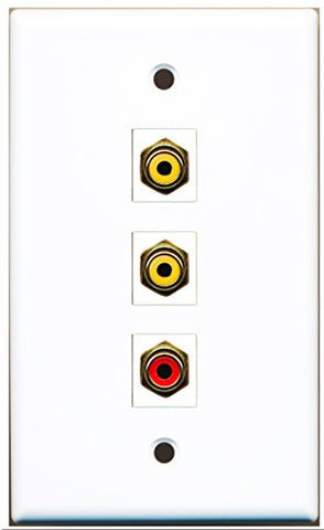 RiteAV - 1 Port RCA Red 2 Port RCA Yellow Wall Plate