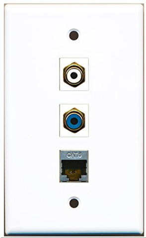 RiteAV - 1 Port RCA White and 1 Port RCA Blue and 1 Port Shielded Cat6 Ethernet Wall Plate