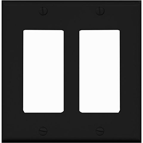 RiteAV Blank Wall Plate for Keystone Jacks - Black 2 Gang Decorative