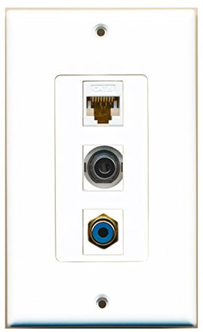 RiteAV - 1 Port RCA Blue and 1 Port 3.5mm and 1 Port Cat6 Ethernet White Decorative Wall Plate Decorative