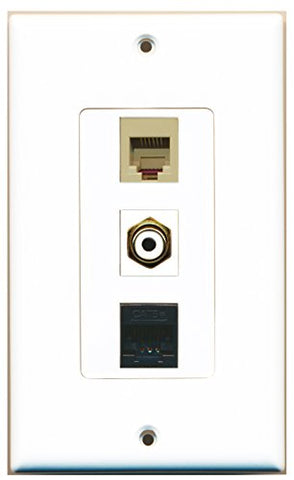RiteAV - 1 Port RCA White and 1 Port Phone RJ11 RJ12 Beige and 1 Port Cat5e Ethernet Black Decorative Wall Plate Decorative