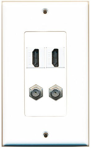 RiteAV - 2 Port HDMI 2 Port Coax Cable TV- F-Type Decorative Wall Plate - White