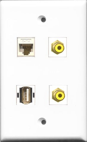 RiteAV - 2 Port RCA Yellow and 1 Port USB A-A and 1 Port Cat6 Ethernet White Wall Plate