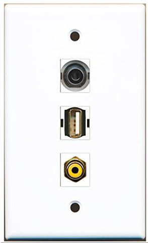 RiteAV - 1 Port RCA Yellow and 1 Port USB A-A and 1 Port 3.5mm Wall Plate