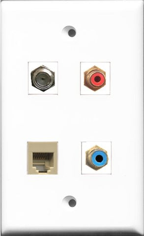 RiteAV 1 Port RCA Red and 1 Port RCA Blue and 1 Port Coax Cable TV- F-Type and 1 Port Phone RJ11 RJ12 Beige Wall Plate