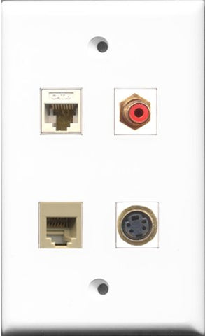 RiteAV 1 Port RCA Red and 1 Port Phone RJ11 RJ12 Beige and 1 Port S-Video and 1 Port Cat6 Ethernet White Wall Plate