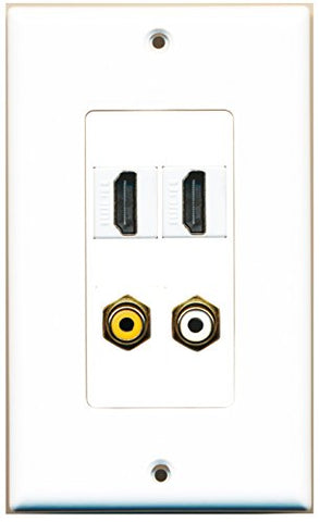RiteAV - 2 Port HDMI 1 Port RCA White 1 Port RCA Yellow Wall Plate Decorative
