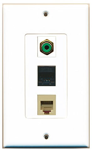 RiteAV - 1 Port RCA Green and 1 Port Phone RJ11 RJ12 Beige and 1 Port Cat5e Ethernet Black Wall Plate Decorative